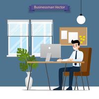Glücklicher Geschäftsmann, der an einem Personal-Computer, sitzend auf einem braunen Lederstuhl hinter dem Schreibtisch arbeitet. Vektor flache Abbildung.