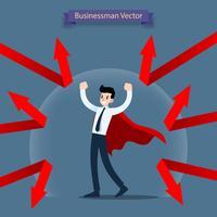Geschäftsmannheld, der ein rotes Kap trägt, das durch Sperre steht und geschützt wird, bleiben von der Pfeilschuld robust, die ihn angreift.