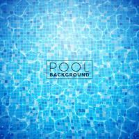 Vektorwasser in der mit Ziegeln gedeckten Poolhintergrund-Designschablone. Sommerillustration mit glänzenden Wellen für Fahne, Flieger, Einladung