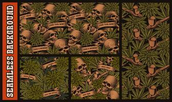 Set med sömlösa mönster med skalle och cannabis