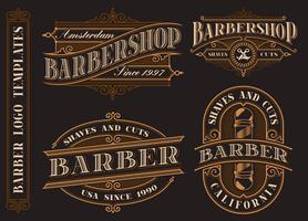 Sats med vintage barbershop emblem, logotyper, märken.