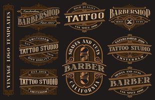 Stor bunt med vintage logotyp mallar för tatuering studio och barbershop vektor