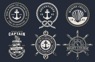 Sats med marin märken vektor