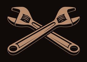 Vektor-Illustration von gekreuzten Schraubenschlüsseln, vektor