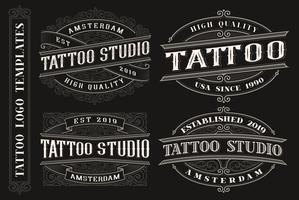 Set med vintage tatuering emblem, logotyper, märken.