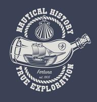 Illustration av en flaska med ett skepp och en snäckskal