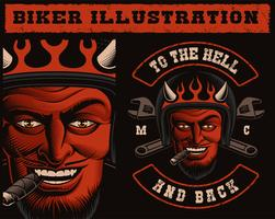 Vektor illustration av en Devil Biker