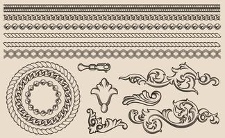 Satz barocke Vektorelemente, Ketten für Design. vektor