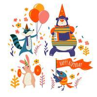 Sätta med söta djur Grattis på födelsedagen vektor