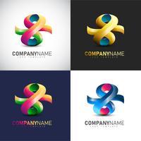 Abstrakt 3D-logotypmall för ditt företags varumärke
