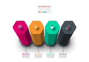 Vektor Infographic-Aufkleberdesign mit Hexagonsäulendesign.