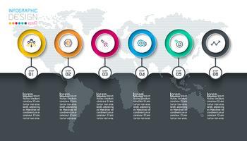 Kreis Label Infografik mit Schritt für Schritt. vektor
