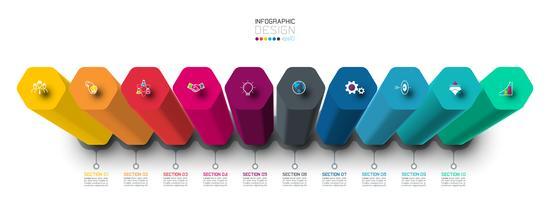 Vektor Infographic etikett design med hexagon kolumner design.