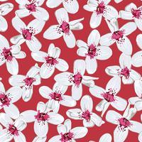 Vita blommor på röd sömlös bakgrund.
