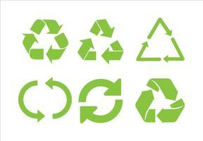 Återvinna ikonvektor. Recycle Recycling Set Symbol Illustration - Vector