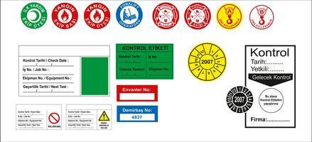 Turkiska skyltar, farosymbol, förbjudet skylt, arbetssäkerhets- och hälsoskilt, varningsskylt, brandsymbol. för klistermärke, affischer och annan materialutskrift. lätt att ändra. vektor.