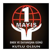 1 maj arbetsdagen postvektor. Turkisk helgdag på majdagen är en dag med arbete och solidaritet. Översättning från turkiska: en arbetsdag och solidaritet. vektor