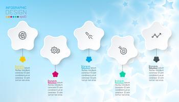 Vit stjärna infographics med blå abstrakt bakgrund