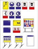 Satz von Gebotsschild, Warnschild, Verbotsschild, Arbeitsschutzschilder, Warnschild, Feuer-Notfallschild. Für Aufkleber, Plakate und andere Materialien. leicht zu ändern. Vektor.