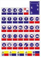 uppsättning obligatoriskt skylt, farosymbol, förbjudet skylt, arbetssäkerhets- och hälsoskilt, varningsskylt, brandsymbol. för klistermärke, affischer och annan materialutskrift. lätt att ändra. vektor.