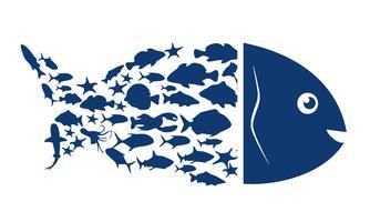 Fisklogo. Blå symbol på fisk på en vit bakgrund. Vektor illustration.