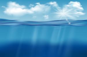 Realistischer Unterwasserhintergrund. Tiefes Wasser des Ozeans, Meer unter Wasserspiegel, Sonne rays blauen Wellenhorizont. Wasseroberfläche 3D-Vektor-Konzept vektor