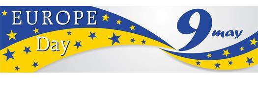 Europadagen. Årlig helgdag i maj. Är namnet på två årliga iakttagelsedagar - den 5 maj av Europarådet och den 9 maj av Europeiska unionen. Affisch, kort, banner och bakgrund. Vektor - Vektör