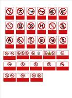 Satz von Gebotsschild, Warnschild, Verbotsschild, Arbeitsschutzschilder, Warnschild, Feuer-Notfallschild. Für Aufkleber, Plakate und andere Materialien. leicht zu ändern. Vektor. vektor