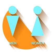 Toalettmärke i platt design vektor