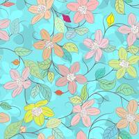 Blomelement på blå sömlös bakgrund.