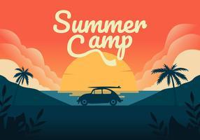 Sumer Camping Vector Bakgrunds Illustration
