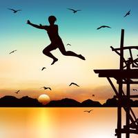 Silhuett och hoppande tjej i skymningen med blå himmel.