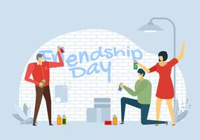 Leute feiern Freundschafts-Tagesvektor-Charakter vektor