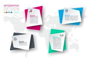 Geschäft infographic mit 4 Aufklebern.