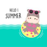 Hallo Sommerferien. Niedlicher sexy Flusspferdabnutzungsbikini und Schwimmringkarikatur.