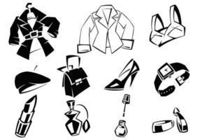 Funky kvinnliga kläder vektorer och tillbehör pack