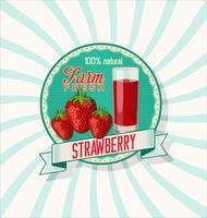 Färska jordgubbar och juice glas bakgrund