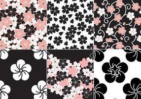 Sakura-Blumen-Vektormuster-Satz