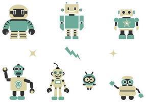 quirky robotar vektor pack