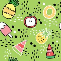 Tecknad gullig sommar söt frukt vektor.