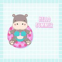 Hej sommarsemester. Söt sexig flodhäst bära bikini och simma ringtecknad. vektor