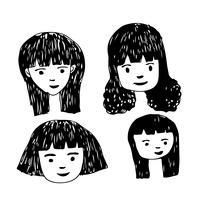 Leute stellen Karikaturikonendesign gegenüber vektor