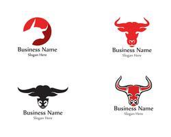 Bull head horn röd logotyp djur vektor