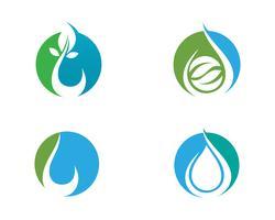 Wassertropfen und Blatt Logo Template-Vektorillustration
