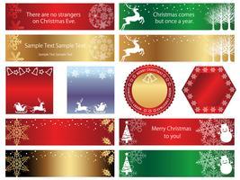 Satz sortierte Weihnachtsfahnen / -karten lokalisiert auf einem weißen Hintergrund.