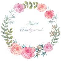 Rundes Blumenfeld des Aquarells / Hintergrund mit Textplatz. vektor