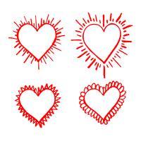 Hand gezeichnetes Herzikonenzeichen vektor