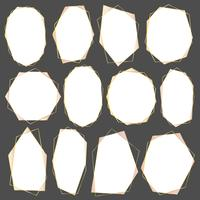 Satz des geometrischen Goldrahmens, des dekorativen Elements für Hochzeitskarte, der Einladungen und des Logos. Vektor-illustration