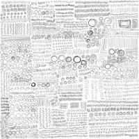 Set of Line Hand Drawn Textures Doodle Style. Handgjord skisser vektor illustration.