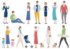 Satz Leute im verschiedenen Lebensstil lokalisiert auf einem weißen Hintergrund. vektor